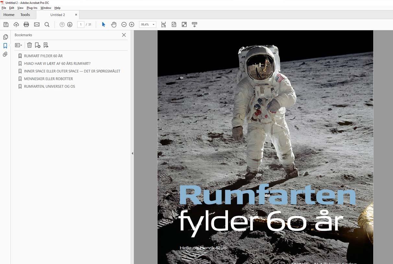 Ebog – rumfart fylder 60 år. Publikation sat i Indesign og nemt generet som e-bog. Skærmbillede af pdf e-bog vist i Adobe Acrobat. Bookmarksmenuen bliver vist til venstre for indholdet.